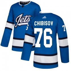 Andrei Chibisov Winnipeg Jets Men's Adidas Authentic Blue Alternate Jersey