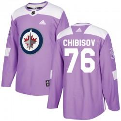 Andrei Chibisov Winnipeg Jets Men's Adidas Authentic Purple Fights Cancer Practice Jersey