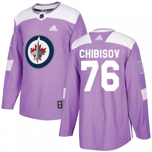 Andrei Chibisov Winnipeg Jets Men's Adidas Authentic Purple Fights Cancer Practice Jersey