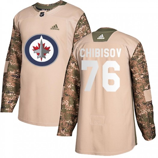 Andrei Chibisov Winnipeg Jets Youth Adidas Authentic Camo Veterans Day Practice Jersey