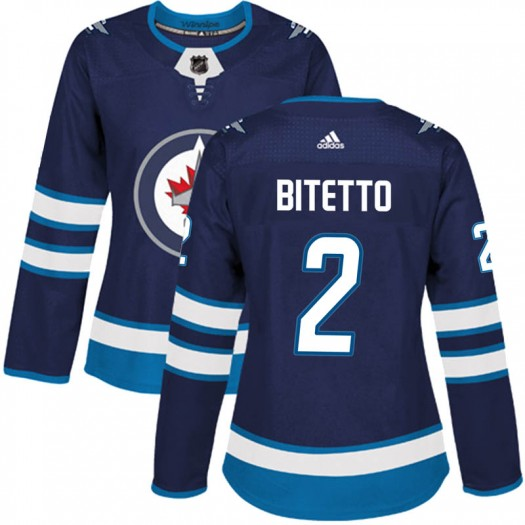 Anthony Bitetto Winnipeg Jets Women's Adidas Authentic Navy Home Jersey