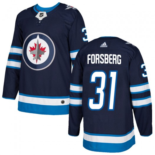 Anton Forsberg Winnipeg Jets Men's Adidas Authentic Navy Home Jersey