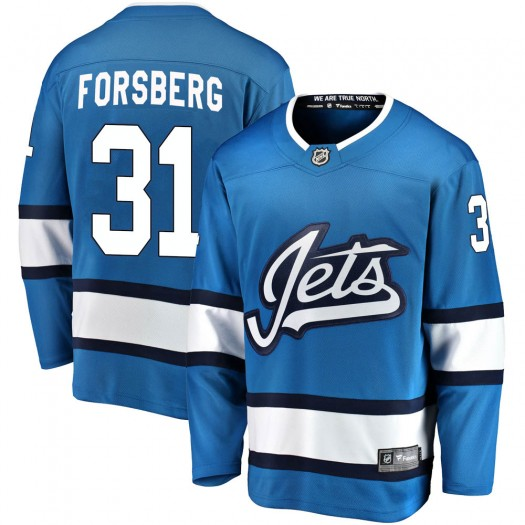 Anton Forsberg Winnipeg Jets Men's Fanatics Branded Blue Breakaway Alternate Jersey
