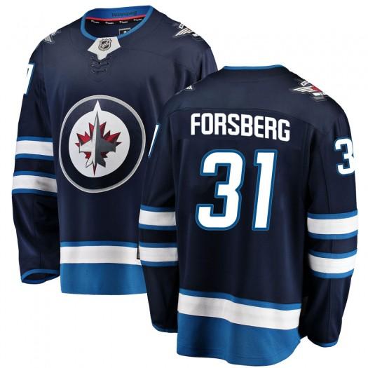 Anton Forsberg Winnipeg Jets Men's Fanatics Branded Blue Breakaway Home Jersey