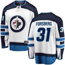 Anton Forsberg Winnipeg Jets Men's Fanatics Branded White Breakaway Away Jersey