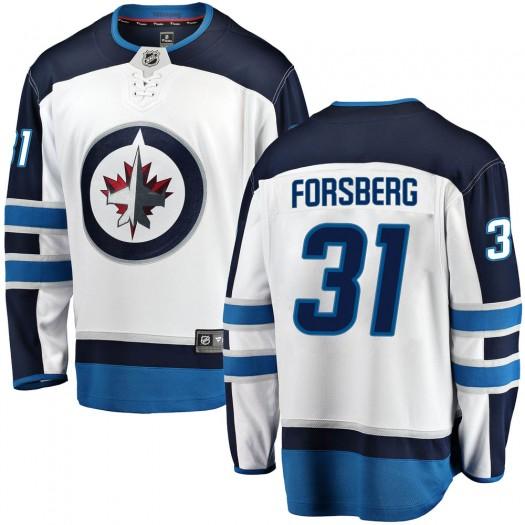 Anton Forsberg Winnipeg Jets Men's Fanatics Branded White Breakaway Away Jersey