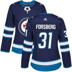 Anton Forsberg Winnipeg Jets Women's Adidas Authentic Navy Home Jersey