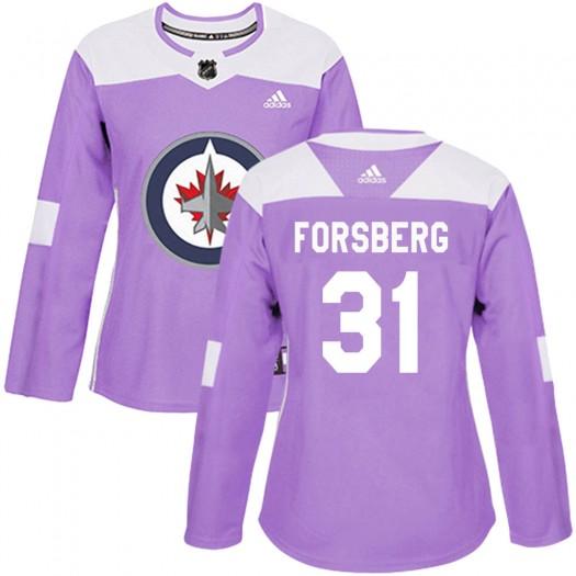 Anton Forsberg Winnipeg Jets Women's Adidas Authentic Purple Fights Cancer Practice Jersey
