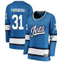 Anton Forsberg Winnipeg Jets Women's Fanatics Branded Blue Breakaway Alternate Jersey