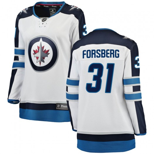 Anton Forsberg Winnipeg Jets Women's Fanatics Branded White Breakaway Away Jersey