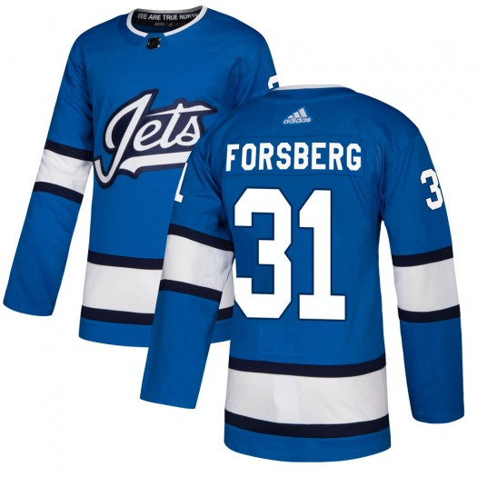 Anton Forsberg Winnipeg Jets Youth Adidas Authentic Blue Alternate Jersey