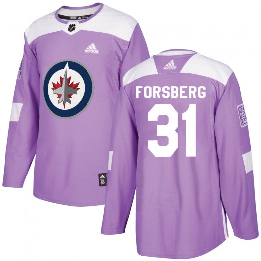 Anton Forsberg Winnipeg Jets Youth Adidas Authentic Purple Fights Cancer Practice Jersey
