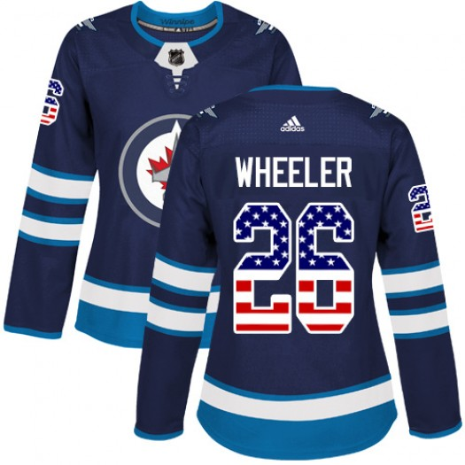 Blake Wheeler Winnipeg Jets Women's Adidas Authentic Navy Blue USA Flag Fashion Jersey
