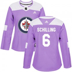 Cameron Schilling Winnipeg Jets Women's Adidas Authentic Purple Fights Cancer Practice Jersey