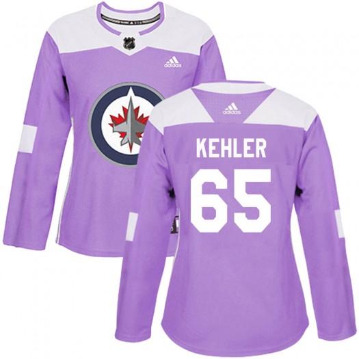 Cole Kehler Winnipeg Jets Women's Adidas Authentic Purple Fights Cancer Practice Jersey