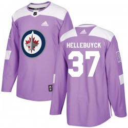 Connor Hellebuyck Winnipeg Jets Men's Adidas Authentic Purple Fights Cancer Practice Jersey