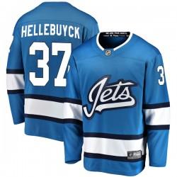 Connor Hellebuyck Winnipeg Jets Men's Fanatics Branded Blue Breakaway Alternate Jersey