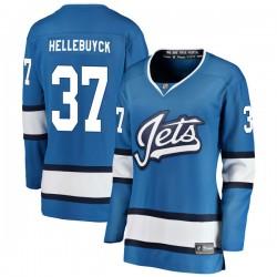 Connor Hellebuyck Winnipeg Jets Women's Fanatics Branded Blue Breakaway Alternate Jersey