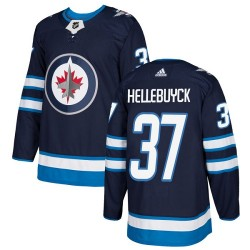 Connor Hellebuyck Winnipeg Jets Youth Adidas Authentic Navy Blue Home Jersey