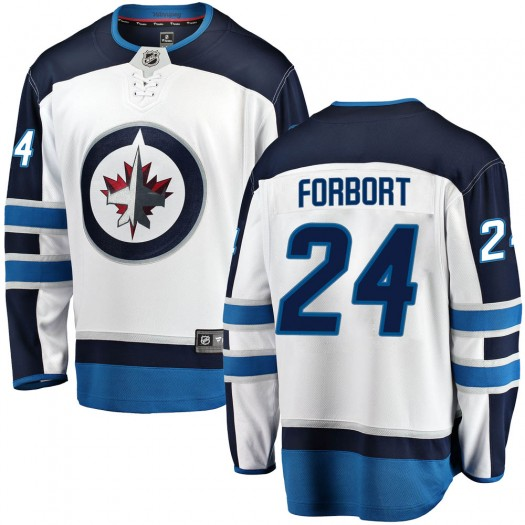 Derek Forbort Winnipeg Jets Men's Fanatics Branded White Breakaway Away Jersey