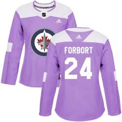 Derek Forbort Winnipeg Jets Women's Adidas Authentic Purple Fights Cancer Practice Jersey