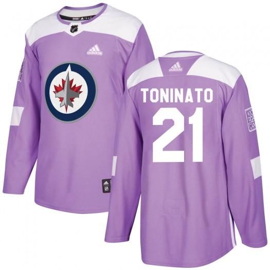 Dominic Toninato Winnipeg Jets Men's Adidas Authentic Purple Fights Cancer Practice Jersey