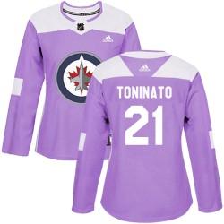 Dominic Toninato Winnipeg Jets Women's Adidas Authentic Purple Fights Cancer Practice Jersey
