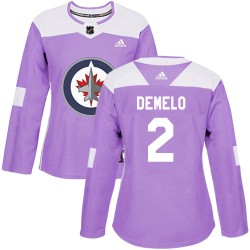 Dylan DeMelo Winnipeg Jets Women's Adidas Authentic Purple Fights Cancer Practice Jersey