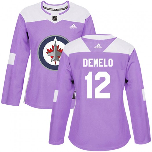 Dylan DeMelo Winnipeg Jets Women's Adidas Authentic Purple ized Fights Cancer Practice Jersey