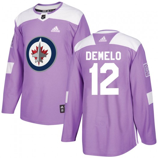 Dylan DeMelo Winnipeg Jets Youth Adidas Authentic Purple ized Fights Cancer Practice Jersey