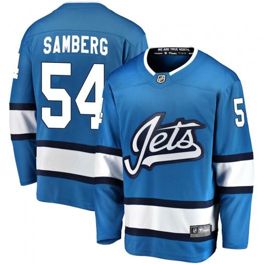Dylan Samberg Winnipeg Jets Men's Fanatics Branded Blue Breakaway Alternate Jersey