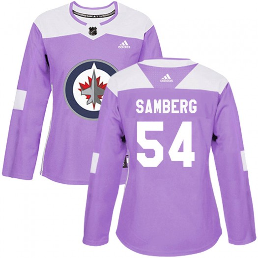 Dylan Samberg Winnipeg Jets Women's Adidas Authentic Purple Fights Cancer Practice Jersey