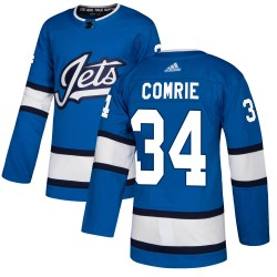 Eric Comrie Winnipeg Jets Men's Adidas Authentic Blue ized Alternate Jersey