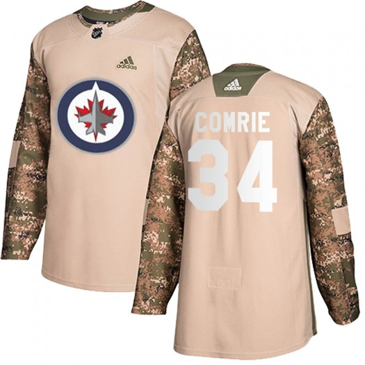 Eric Comrie Winnipeg Jets Men's Adidas Authentic Camo ized Veterans Day Practice Jersey