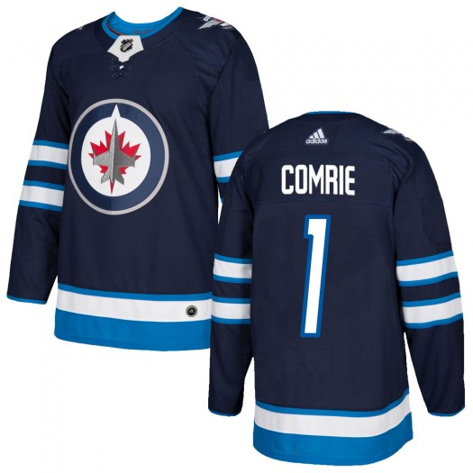 Eric Comrie Winnipeg Jets Men's Adidas Authentic Navy Home Jersey