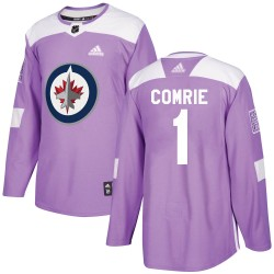 Eric Comrie Winnipeg Jets Men's Adidas Authentic Purple Fights Cancer Practice Jersey