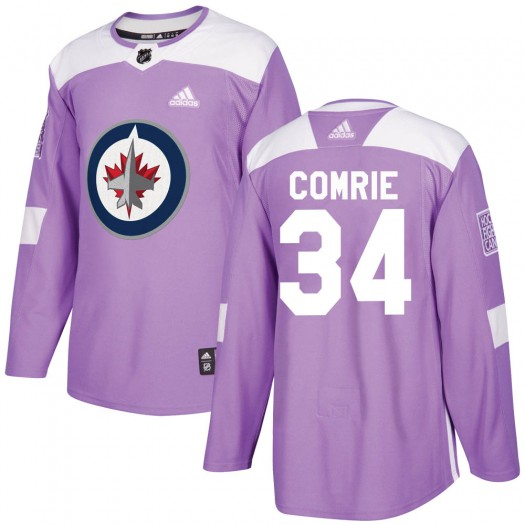 Eric Comrie Winnipeg Jets Men's Adidas Authentic Purple ized Fights Cancer Practice Jersey