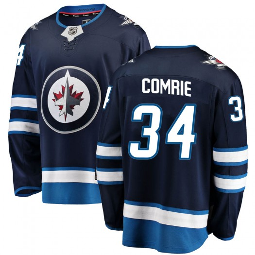 Eric Comrie Winnipeg Jets Men's Fanatics Branded Blue ized Breakaway Home Jersey