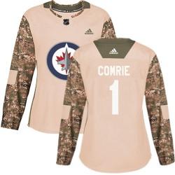 Eric Comrie Winnipeg Jets Women's Adidas Authentic Camo Veterans Day Practice Jersey