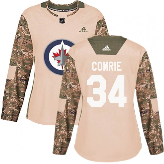 Eric Comrie Winnipeg Jets Women's Adidas Authentic Camo ized Veterans Day Practice Jersey