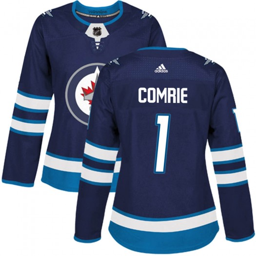 Eric Comrie Winnipeg Jets Women's Adidas Authentic Navy Home Jersey