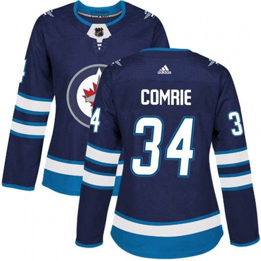 Eric Comrie Winnipeg Jets Women's Adidas Authentic Navy ized Home Jersey