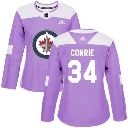 Eric Comrie Winnipeg Jets Women's Adidas Authentic Purple ized Fights Cancer Practice Jersey