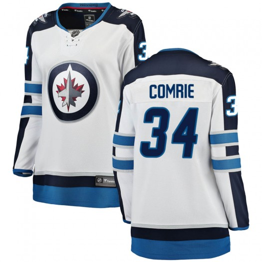 Eric Comrie Winnipeg Jets Women's Fanatics Branded White ized Breakaway Away Jersey