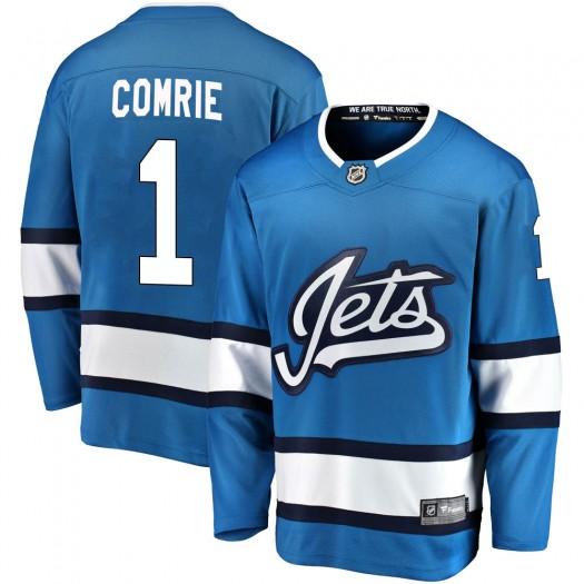 Eric Comrie Winnipeg Jets Youth Fanatics Branded Blue Breakaway Alternate Jersey