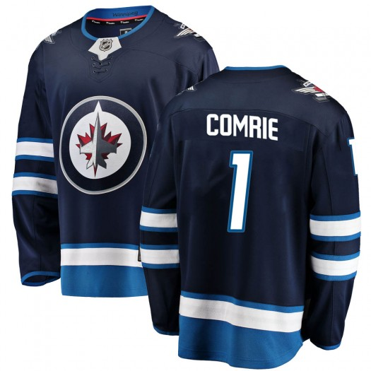Eric Comrie Winnipeg Jets Youth Fanatics Branded Blue Breakaway Home Jersey