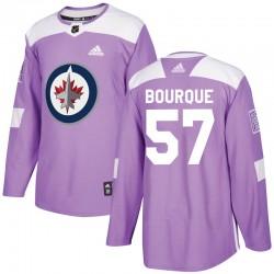 Gabriel Bourque Winnipeg Jets Men's Adidas Authentic Purple Fights Cancer Practice Jersey