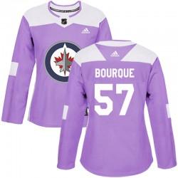 Gabriel Bourque Winnipeg Jets Women's Adidas Authentic Purple Fights Cancer Practice Jersey