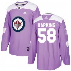 Jansen Harkins Winnipeg Jets Youth Adidas Authentic Purple Fights Cancer Practice Jersey