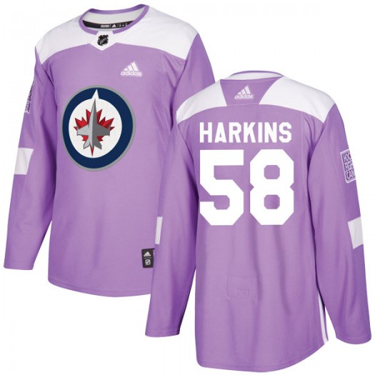 Jansen Harkins Winnipeg Jets Youth Adidas Authentic Purple Fights Cancer Practice Jersey